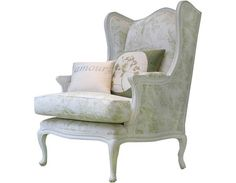 Image of Poltrona country chic in Toile de Jouy - Country chic armchair