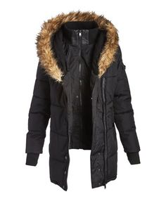 This Black Faux Fur-Trim Side-Zip Puffer Coat - Plus Too is perfect! #zulilyfinds