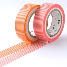 Orange x Coral Stripe - mt Washi Tape Duo from omiyage.ca