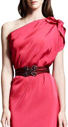 Lanvin Udaipur Crystal-Buckle Elastic Belt, Pink on shopstyle.com