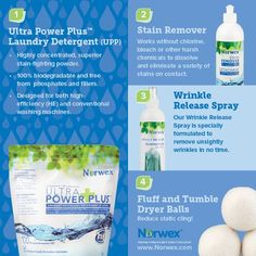 Norwex (1) Ultra Power Plus Laundry Detergent, (2) Stain Remover, (3) Wrinkle Release Spray, (4) Fluff and Tumble Dryer Balls. For Facebook parties, online events and marketing.