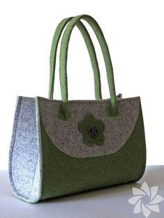Handbag Felt noble Felt Purse green / gray by MargritliDesign Felt Purse, Tote Purse, Felt Bags, Diy Handbag, Fabric Bags, Felt Diy, Casual Bags, Green Bag, Cloth Bags