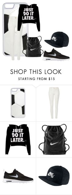 """""""Just Do It Later"""" by fudgecake1234 on Polyvore featuring CellPowerCases, River Island, NIKE, soccer and nike"""