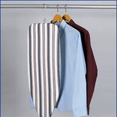 Dorm ironing Board with hanger - I've never seen one that hangs in a closet, but very handy tool.
