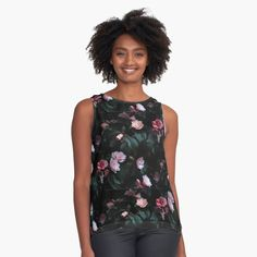 Ditsy Floral, Floral Tops, Black Background Design, Purple Peonies, Black Sleeveless Top, Pink Leaves, Fashion Studio, Fashion 2020