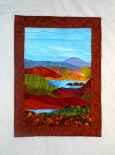 Quilted Wall Hanging  Autumn in New England in Rust by nhquiltarts