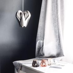 Grey interior provides a beautiful neutral backround for steel Blossom lamp ✨/ be&liv