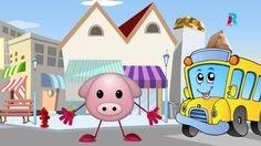 The Wheels on The Bus Go Round and Round - Cartoon Nursery Rhymes