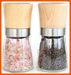 Willow & Everett Salt and Pepper Shakers - Wood Salt and Pepper Grinder Set with Adjustable Coarseness - Salt and Pepper Mill Pair - Spice Grinder - Fun stuff and gift ideas (*Amazon Partner-Link)