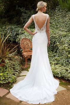 976a25f0f8 Full-length chiffon modified A-line gown features illusion lace straps and  romantic sweetheart neckline. A Guipure lace bodice with beaded appliqué at  the ...