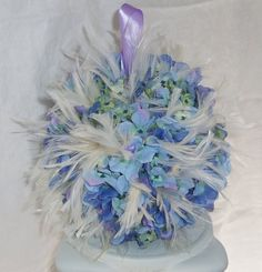 Flower Girl Pomander Feather and Silk Flower Wedding Accessory, Kissing Ball- Ready To Ship