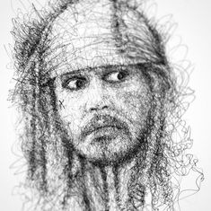 Johnny Depp Pirates of the Caribbean. Superheroes, Celebrities and Cartoons Scribble Drawings. To see more art and information about Erick Centeno click the image.