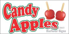 (Choose Your Size) Candy Apples DECAL Food Truck Van lSign Restaurant Concession #HarbourSigns