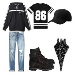 """rainy days"" by rabiamiah on Polyvore featuring rag & bone, Timberland and Moschino Cheap & Chic"