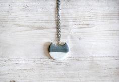 Modern grey cat necklace cold porcelain pendant elegant geometric half moon necklaces necklace woman long necklaces fashion jewelry