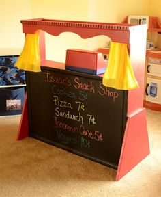 @Susan Davidson Hulse and @Annie Compean Edwards  and @Rob Grundel McWhorter....  one idea for Christmas...  maybe for Sean or Justin to help me do??  This was an old hutch turned into a puppet show/snack shop. Website gives full detailed instructions. Such a cute SIMPLE idea instead of paying BIG BUCKS for those ones at the store!