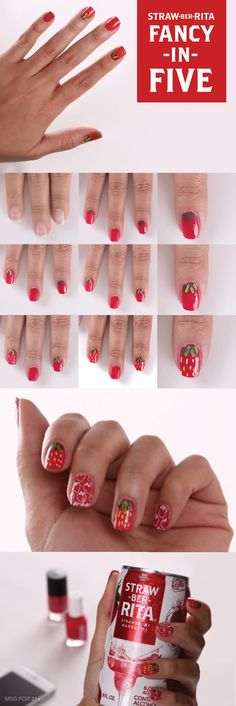 Looking for some ideas to spice up your next party look? This Straw-Ber-Rita inspired nail art is the perfect design to elevate your Spring look # whats the fastest way to lose weight in a week Pedicure Nail Art, Diy Nails, Cute Nails, Pretty Nails, Pedicure Ideas, Manicure, Sassy Nails, Nail Ideas, Nail Polish Designs