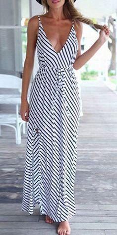 Monochrome Spaghetti Strap Striped Maxi Dress