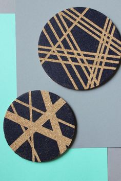 Dollar Store Crafts » Blog Archive » Make Geometric Washi Stenciled Cork or Wood Plaques.