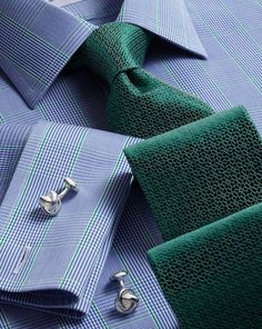 Slim fit non-iron Prince of Wales blue shirt