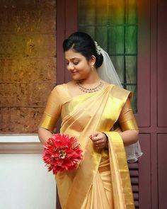 Christian Wedding Sarees, Christian Bride, Saree Wedding, Christian Weddings, Kerala Engagement Dress, Engagement Saree, Engagement Dresses, Wedding Saree Collection, Bride Bouquets