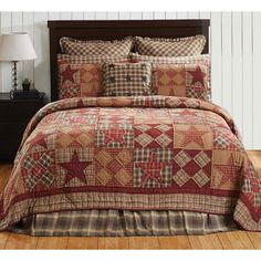 Dawson Star collection fully embraces the lodge life. 100% cotton, hand-quilted and bursting with timeless rustic colors, including khaki, burgundy, and woodland brown plaid in diagonal rows of alternating 5-point stars and five patch blocks.