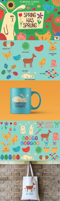 Spring Has Sprung Design Kit - This collection of hand drawn spring and Easter vector elements helps you to   create greeting cards, invitations printables, wall art, web and blog   designs, and much more. By Turncoat Studio $9.   #illustration #drawing #bunny #rabbit #deer #chicken #candy #drawing #cute #graphic #holiday #flower #fun