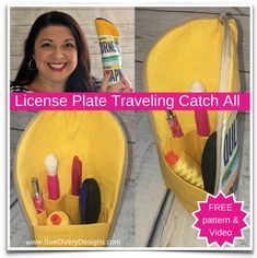 Free Sewing Pattern: License Plate Traveling Zipper Catch All