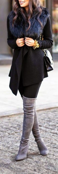Grey over the knee boots, winter style, black wool coat with fur collar detail