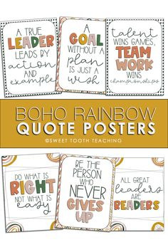 Boho Rainbow quote posters are perfect for a neutral classroom. Includes quotes about kindness leadership, teamwork, goal setting, and reading. Perfect addition to your elementary classroom decor. Classroom Hacks, Classroom Decor Themes, Sixth Grade, Third Grade, Rainbow Quote, Teaching Resources, Teaching Ideas, Kindness Quotes, Class Activities