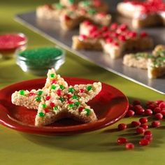 cut rice krispie treats into Christmas shapes