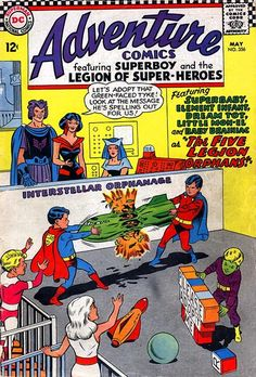 Legion of Super-Heroes, turned into kids, 1960s, classic Silver Age, cover art, Adventure Comics