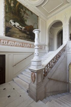 The Marble Staircase at Kingston Lacy in  Wimborne Minster, Dorset, England. The stairs were created in Carrara marble by Charles Barry in the 1830s