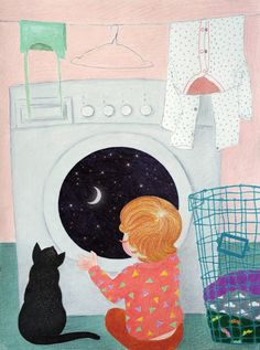 My little girl loves to sit in front of the washing machine and I love to draw this scene.