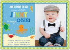 Underwater Sea Creatures Green Polka Dots Boy Photo Birthday Party Invitations, 35965 - Turtle, Octopus, Crab, Seahorse, Starfish