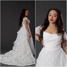 Vintage 1960s-70s Lace Appliquéd Wedding Dress