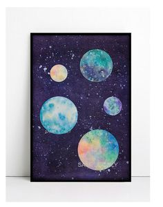 Space Planet Moon Poster PRINTABLE FILE space art luna by Dantell