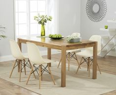 Buy The Oxford 120cm Solid Oak Dining Table With Wood Leg Plastic Chairs At Furniture