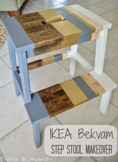 'Lil Striped Bekvam Stool - An update to the Ikea Bekvam stool - Table & Hearth Bekvam Stool, Ikea Bekvam, Ikea Step Stool, Diy Stool, Step Stools, Upcycled Furniture, Painted Furniture, Diy Furniture, Stool Makeover