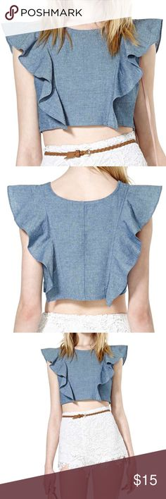 Nasty Gal frill me crop top Denim crop top with cute shoulder detail. Side zip. Only worn a few times, in great condition. Nasty Gal Tops Crop Tops