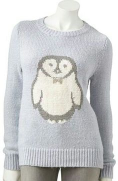 Look at that cute little penguin wearing a bowtie! I want this sweater! -$34 at Kohls