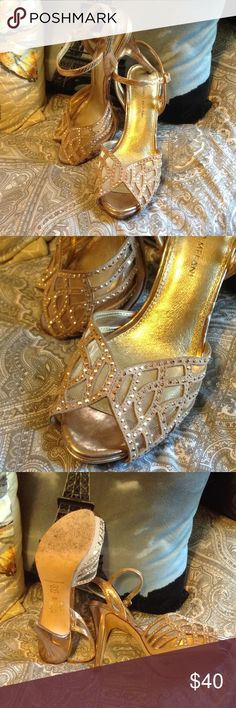 💞Rose Gold Studded High Heels👑 Beautiful Rose Tan Gold Heels. Tiny Studded Adorn the Intricate Cutouts. Only worn once to the Marine Corps Ball. Perfect for a Wedding, Homecoming, a Night Out, etc. Leather Antonio Melani Brand Size 8 ANTONIO MELANI Shoes