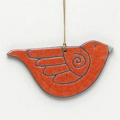 Ornamento de pájaros, cerámica, Raku, escultura azul, hecho a mano, caprichosa, decoración para el hogar