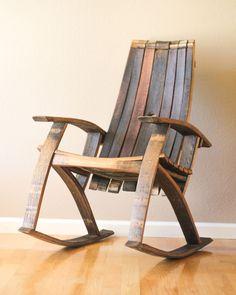 wine barrel rocking chair Barrel Projects, Do It Yourself Crafts, Lazy Susan, Rocking Chair, Garden Design, Tray, Woodworking, Diy Crafts, Wolf Den