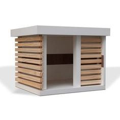 Love the natural wood accent to warm and offset the clean white modern design. Big Dog House, Dog House Plans, Modern Dog Houses, Cool Dog Houses, Animal Room, Animal House, Pet Beds, Dog Bed, Dog Furniture