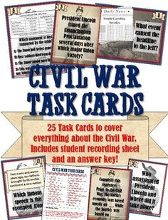 This is a fantastic set of 25 task cards related to the US Civil War and Reconstruction! Each task card features a question or statement that students must analyze and answer on an included response sheet. 7th Grade Social Studies, Social Studies Notebook, Social Studies Classroom, Social Studies Activities, History Classroom, Teaching Social Studies, History Teachers, History Education, Teaching American History