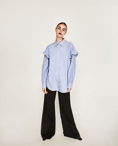 Zara is the mecca for affordable fashion-girl staples. So much so that each season, a lineup of its standout pieces noticeably makes its way into the closets of stylish gals everywhere (ourselves included). Daily Fashion, Girl Fashion, Fashion Outfits, Spring Fashion, Frilly Shirt, Basic Wear, Velvet Slip Dress, Zara Dresses, Zara Women