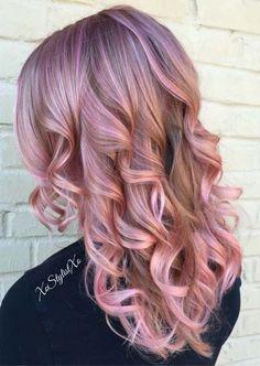 17 Ideas Hair Color Blonde Spring Rose Gold - All About Hairstyles Ombre Rose Gold, Rose Gold Blonde, Rose Gold Hair, Hot Hair Colors, Hair Color Purple, Blonde Color, Pink Color, Olivia Palermo, Pastel Lavender Hair