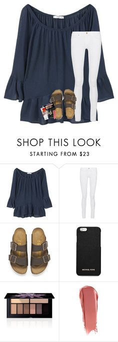 """my friend is trying to make me into someone i'm not"" by lindsaygreys ❤ liked on Polyvore featuring MANGO, Frame, Birkenstock, MICHAEL Michael Kors, Smashbox, NARS Cosmetics and Kendra Scott"