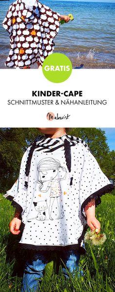 Gratis Anleitung: Cape für Kinder nähen - Schnittmuster und Nähanleitung via Makerist.de